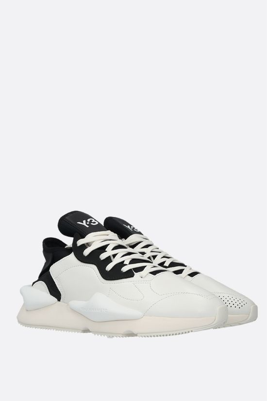 Y-3: Kaiwa grainy leather sneakers Color White_2