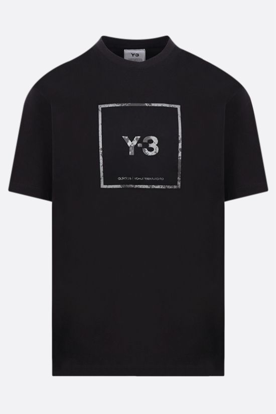 Y-3: Square Label cotton t-shirt Color Black_1