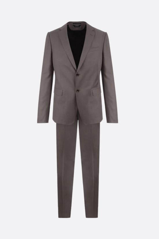 Z ZEGNA: striped lightweight wool two-piece suit Color Brown_1