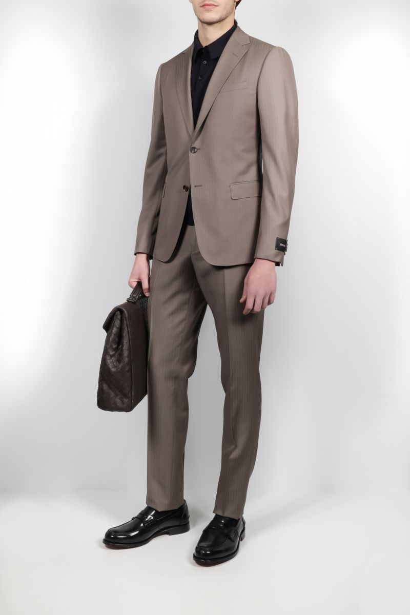 Z ZEGNA: striped lightweight wool two-piece suit Color Brown_2