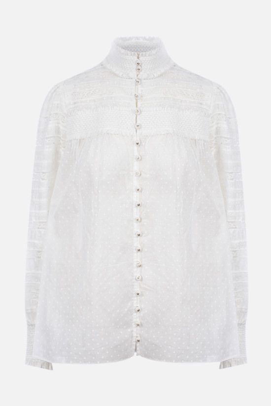 ZIMMERMANN: Candescent lace-detailed cotton voile shirt Color Neutral_1