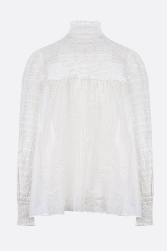 ZIMMERMANN: Candescent lace-detailed cotton voile shirt Color Neutral_2