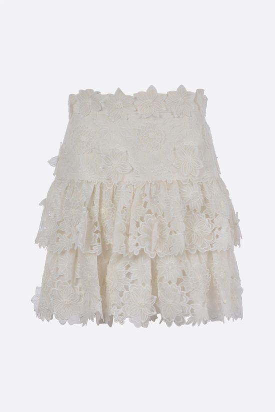 ZIMMERMANN: The Lovestruck linen flounced miniskirt Color Neutral_1