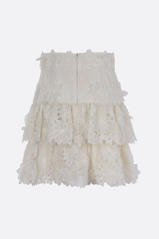 ZIMMERMANN: The Lovestruck linen flounced miniskirt Color Neutral_2