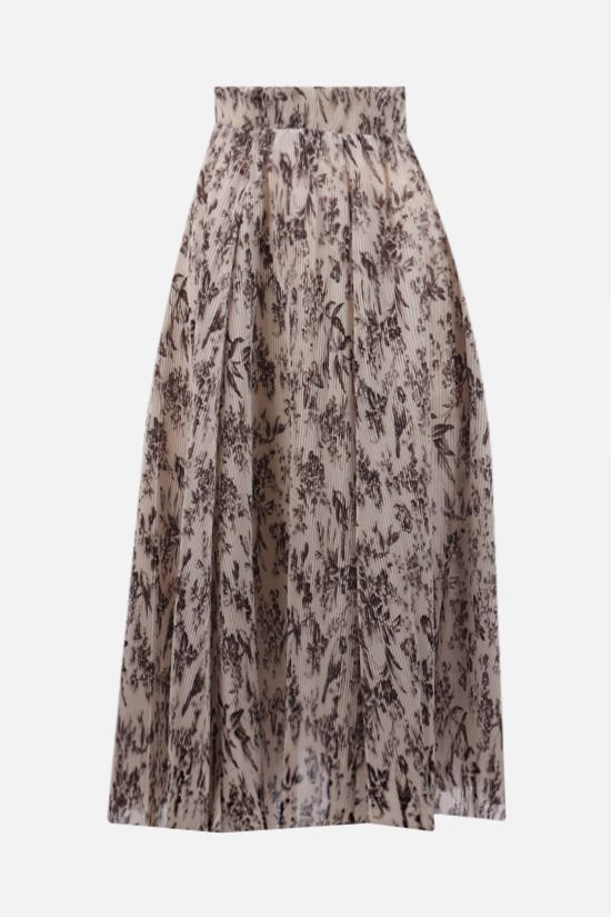 ZIMMERMANN: Bird print pleated organdy midi skirt Color Multicolor_1