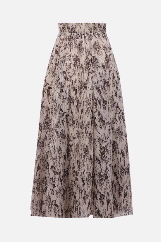 ZIMMERMANN: Bird print pleated organdy midi skirt Color Multicolor_2
