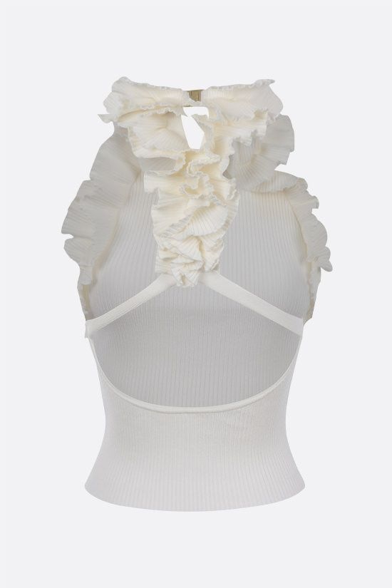 ZIMMERMANN: top cropped The Lovestruck in maglia a costine Colore Bianco_2