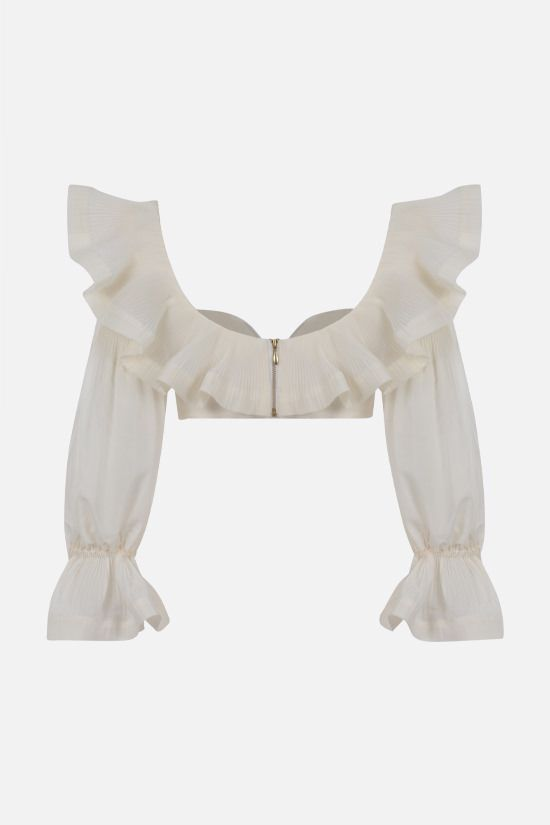 ZIMMERMANN: The Lovestruck organdy cropped top Color Neutral_2