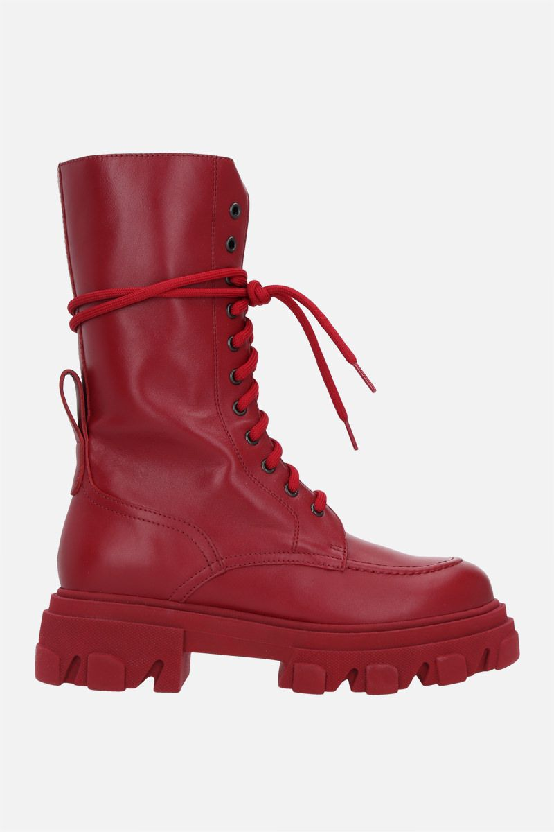 DEPENDANCE: Reddy smooth leather combat boots Color Red_1