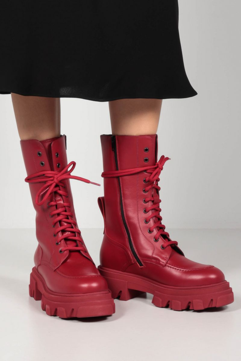 DEPENDANCE: Reddy smooth leather combat boots Color Red_2