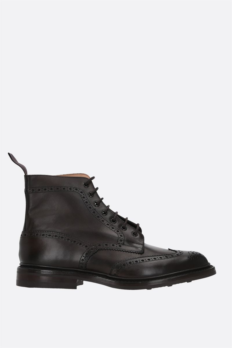 TRICKER'S: Stow shiny leather combat boots Color Brown_1