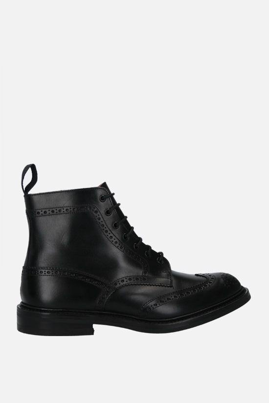 TRICKER'S: Stow shiny leather country boots Color Black_1