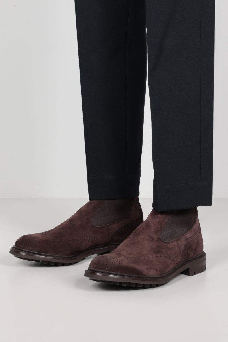 TRICKER'S: Henry suede chelsea boots Color Brown_2