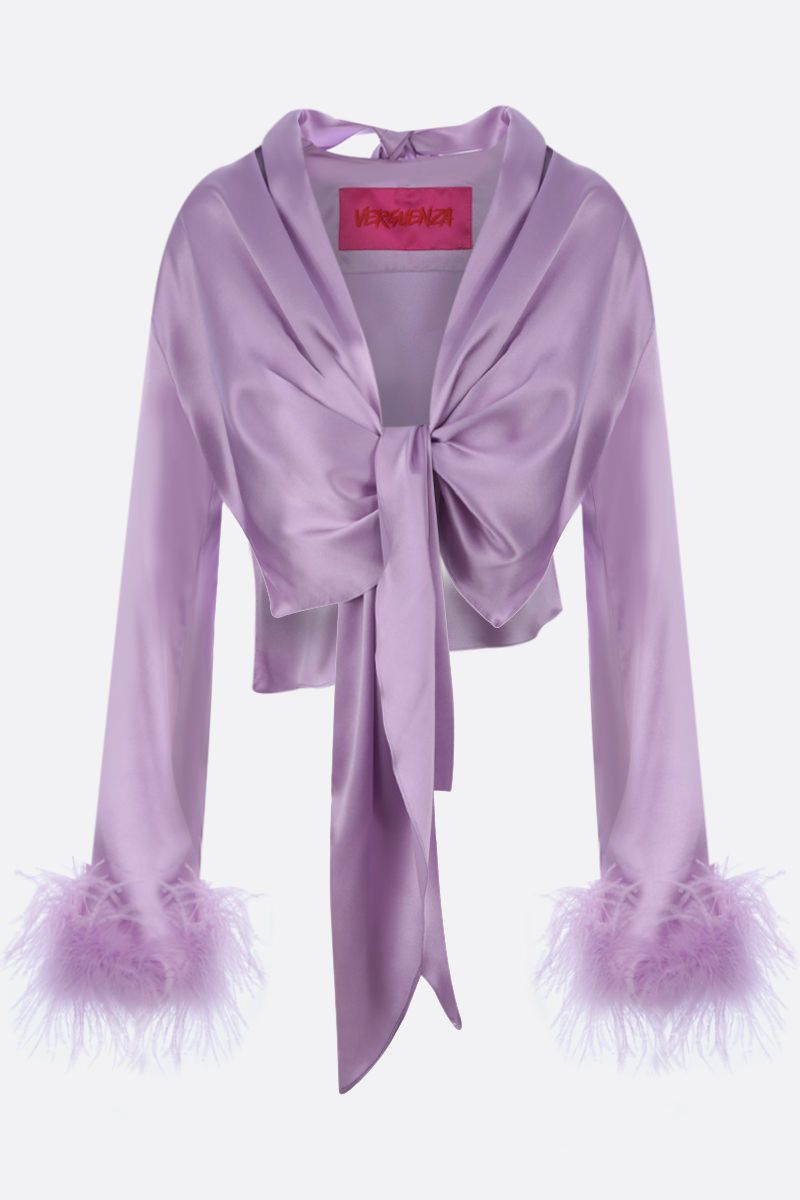 VERGUENZA: Avaricia feather-detailed knotted shirt Color Pink_1