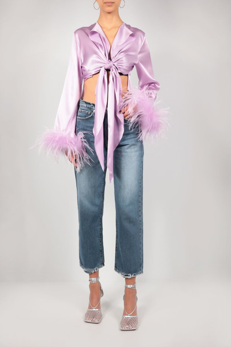 VERGUENZA: Avaricia feather-detailed knotted shirt Color Pink_2