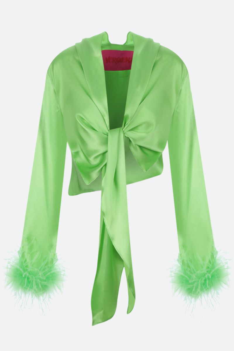VERGUENZA: Avaricia feather-detailed knotted shirt Color Green_1