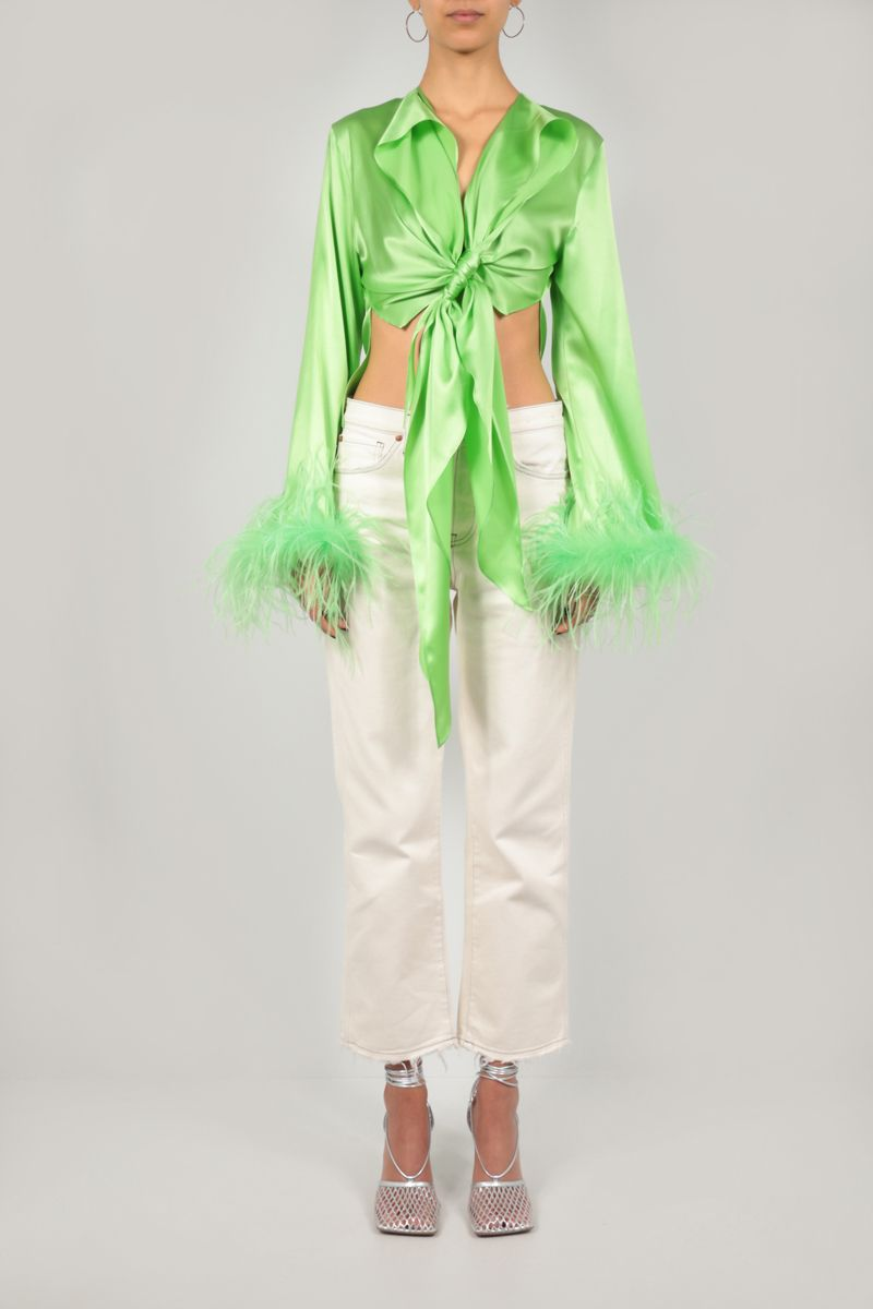 VERGUENZA: Avaricia feather-detailed knotted shirt Color Green_2