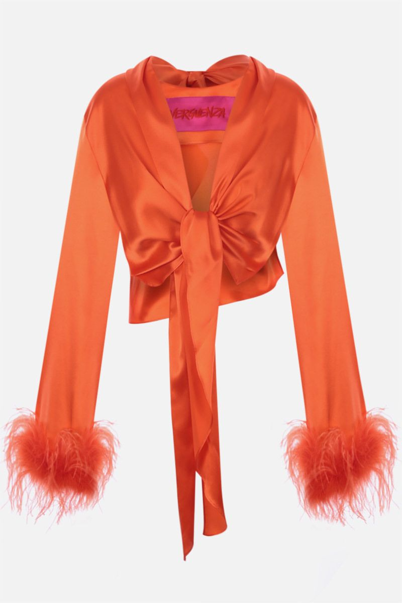 VERGUENZA: Avaricia feather-detailed knotted shirt Color Orange_1