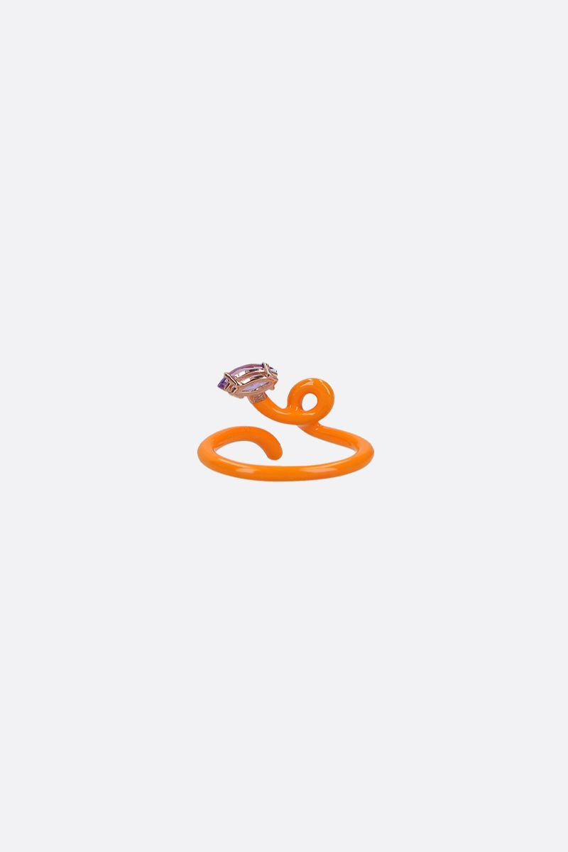 BEA BONGIASCA: Baby Vine enameled rose gold tendril ring Color Orange_2