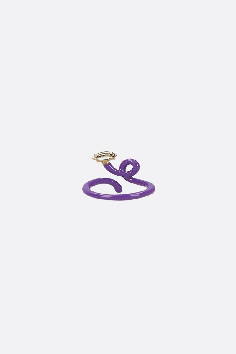 BEA BONGIASCA: Baby Vine enameled yellow gold tendril ring Color Purple_2