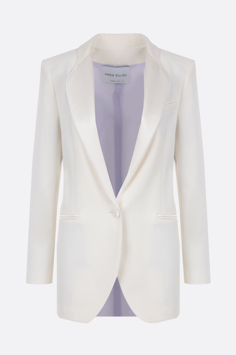 HEBE STUDIO: cady single-breasted jacket Color White_1