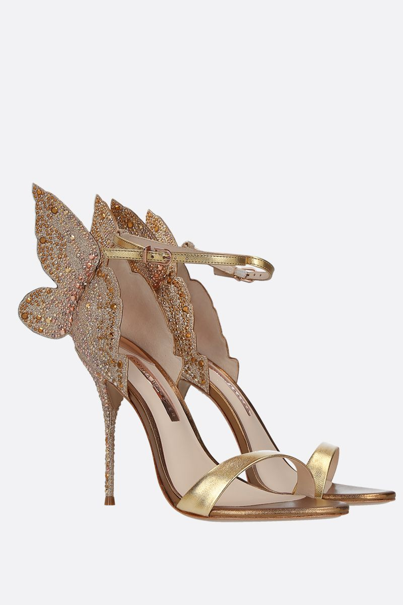 SOPHIA WEBSTER: Chiara laminated leather and glitter sandals Color Gold_2