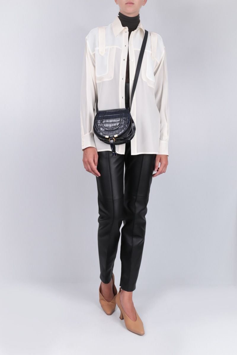 VICTORIA BECKHAM: silk chiffon shirt with knit inserts Color Neutral_2