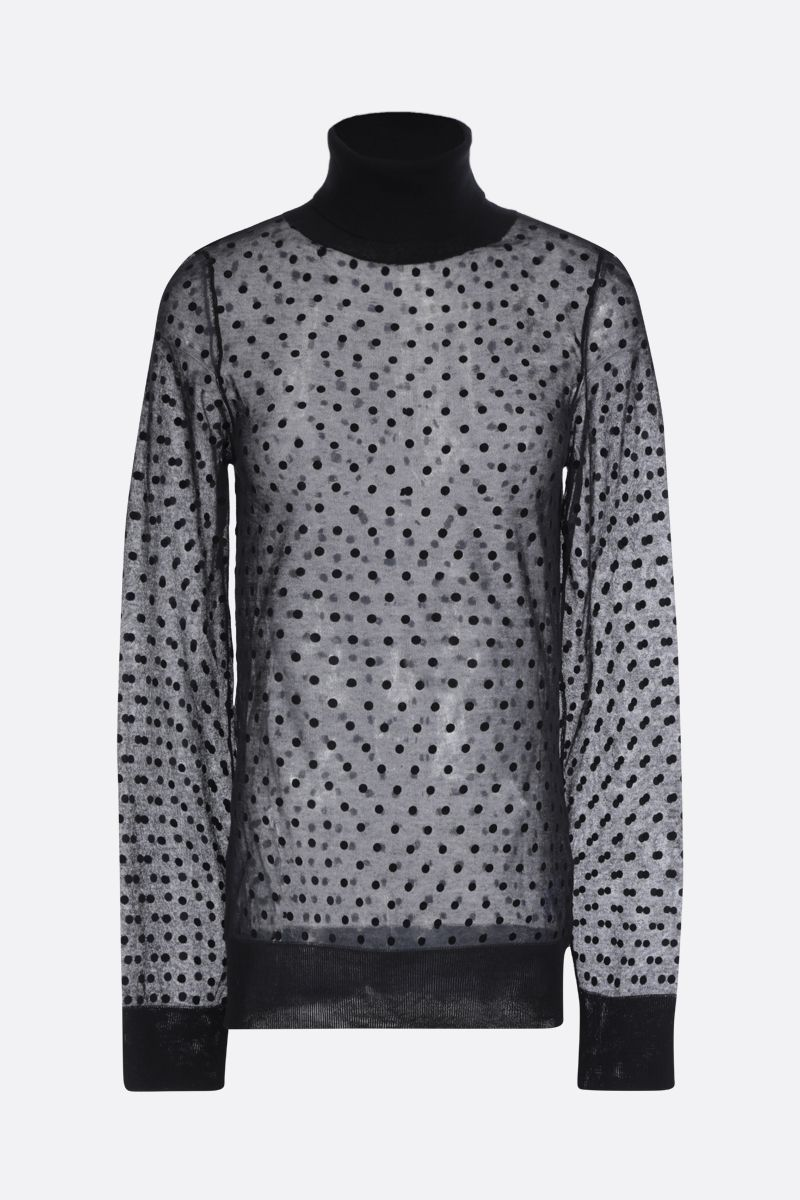 VICTORIA BECKHAM: polka dots printed cotton blend turtleneck Color Black_1
