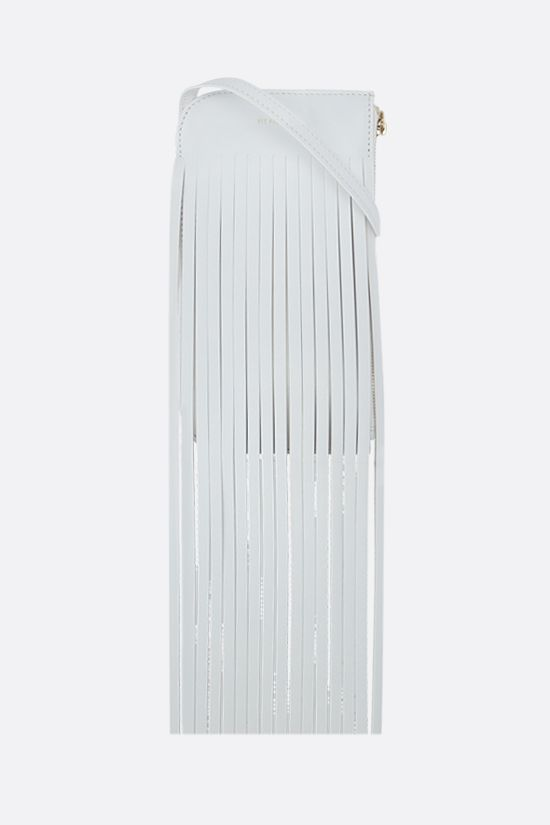 REE PROJECTS: Do fringed leather neck pouch Color White_1
