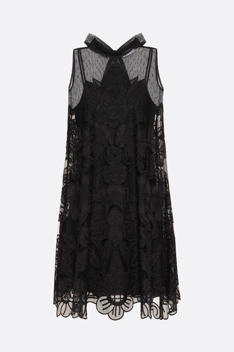 RED VALENTINO: point d'esprit tulle A-line dress Color Black_1