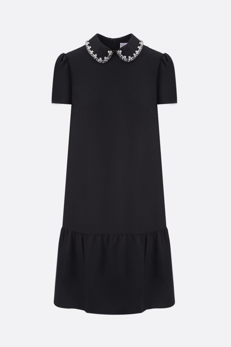 RED VALENTINO: collar-detailed crepe envers satin short dress Color Black_1