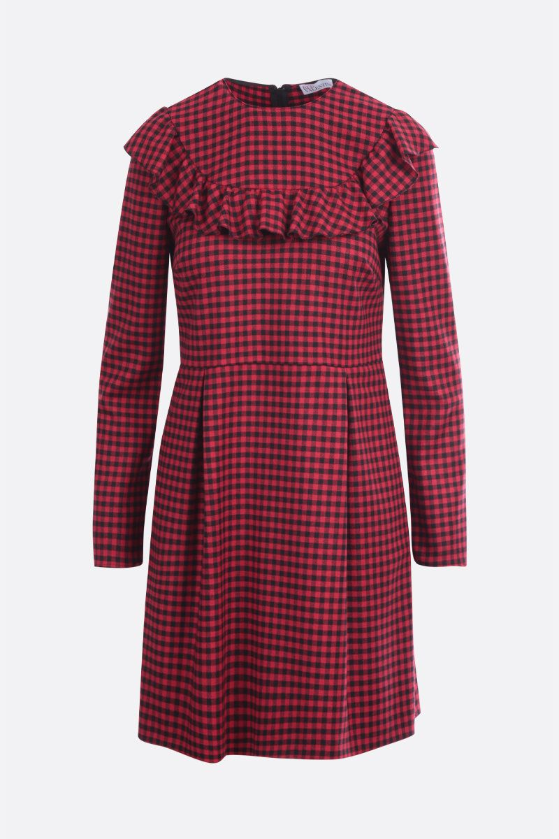 RED VALENTINO: check wool blend short dress Color Black_1