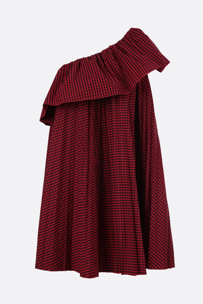 RED VALENTINO: pleated poplin one-shoulder dress Color Red_1