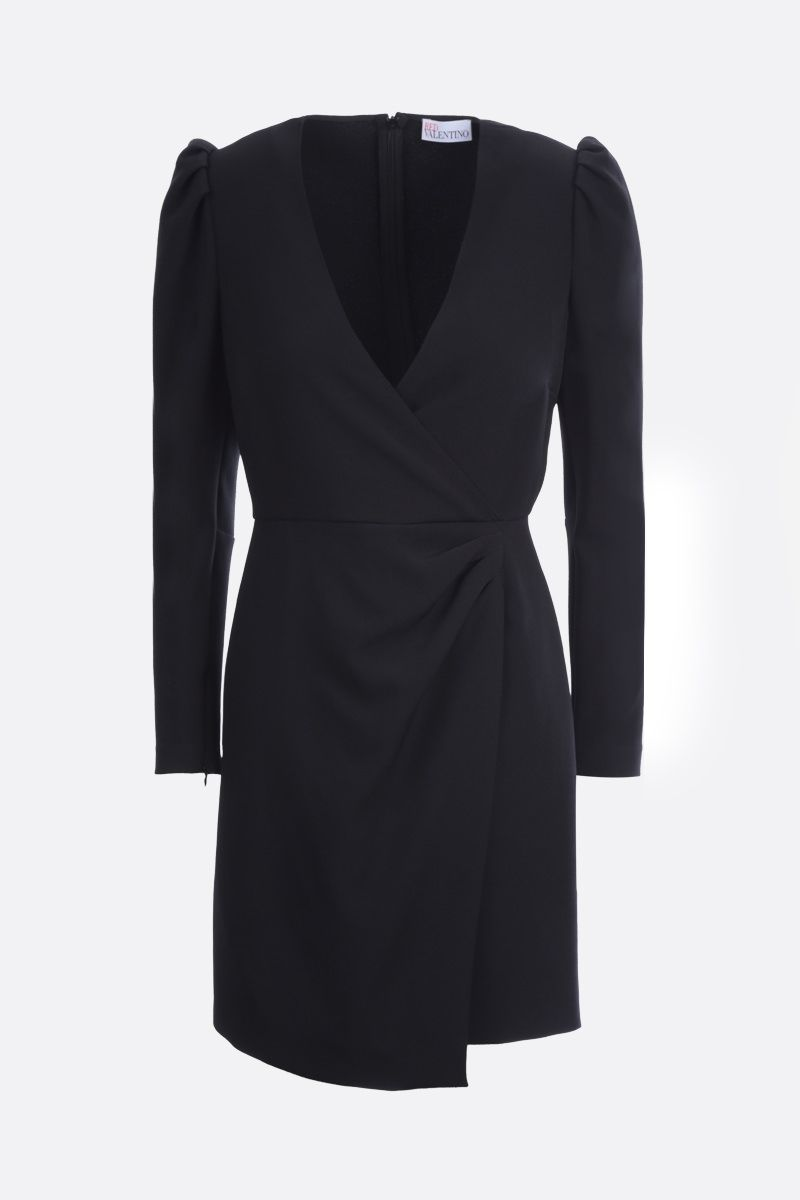 RED VALENTINO: stretch double crepe wrap dress Color Black_1