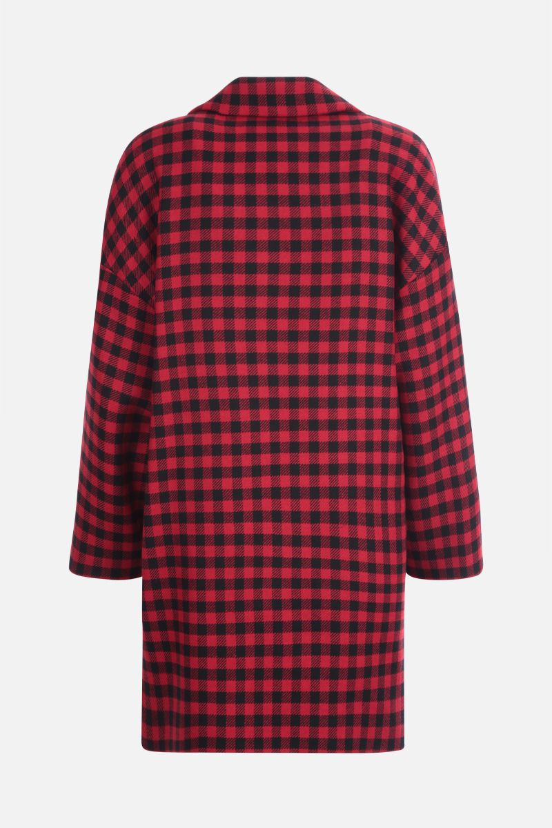 RED VALENTINO: check wool blend double-breasted coat Color Black_2