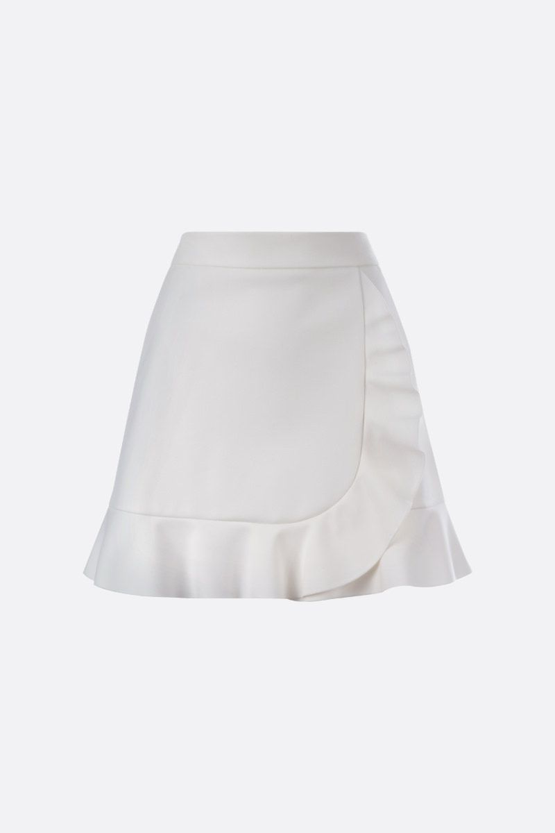 RED VALENTINO: frilled trim-detailed drill miniskirt Color White_1