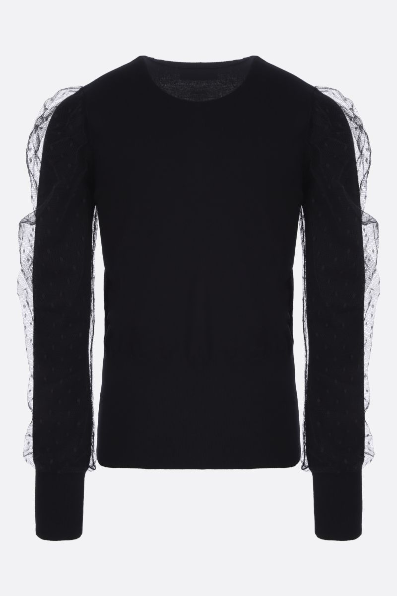 RED VALENTINO: tulle point d'esprit insert stretch knit pullover Color Black_2