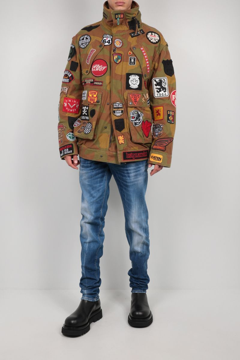 DSQUARED2: patch-detailed canvas jacket Color Green_2