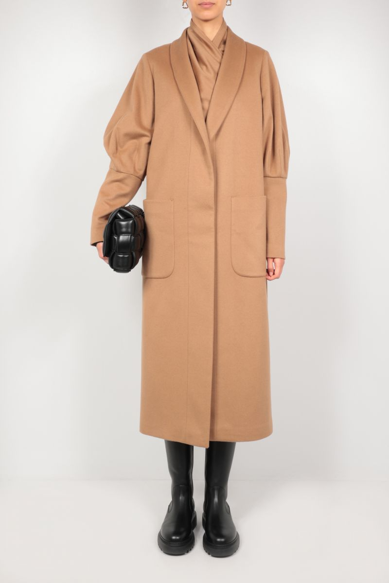 FEDERICA TOSI: single-breasted cashmere wool blend coat Color Brown_2