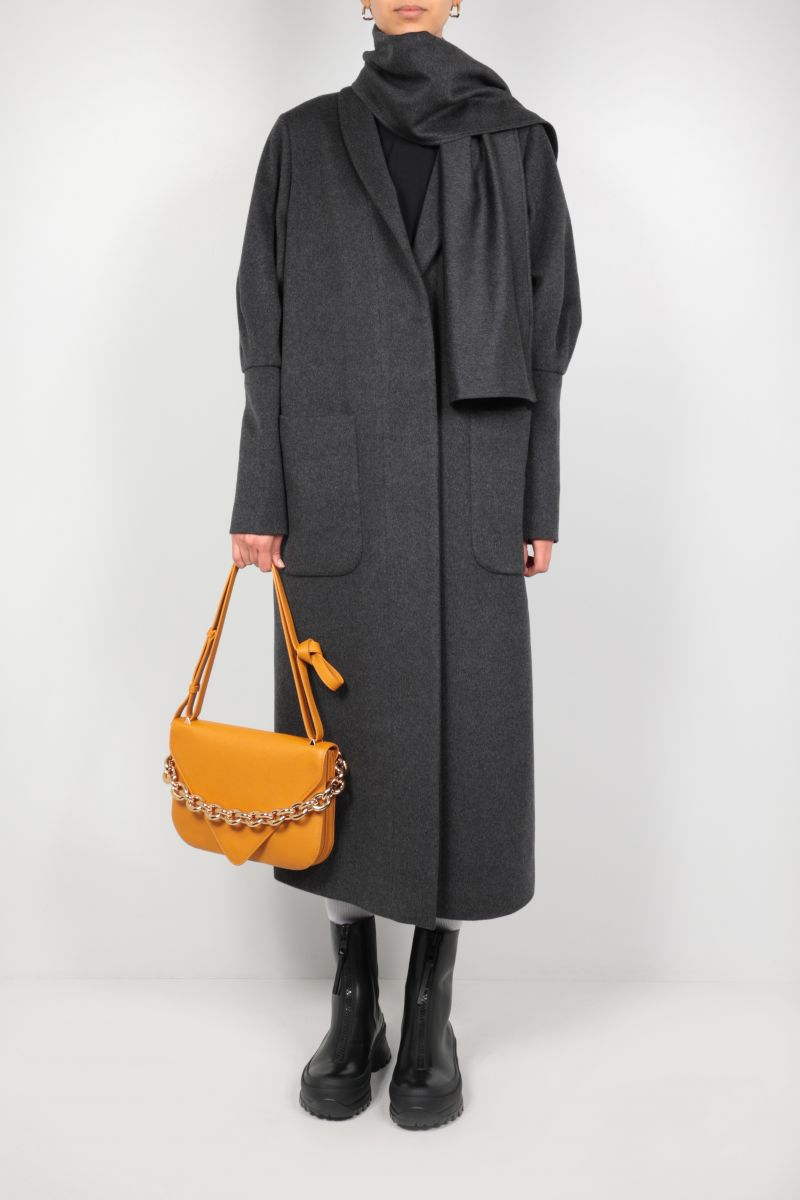 FEDERICA TOSI: single-breasted cashmere wool blend coat Color Grey_2