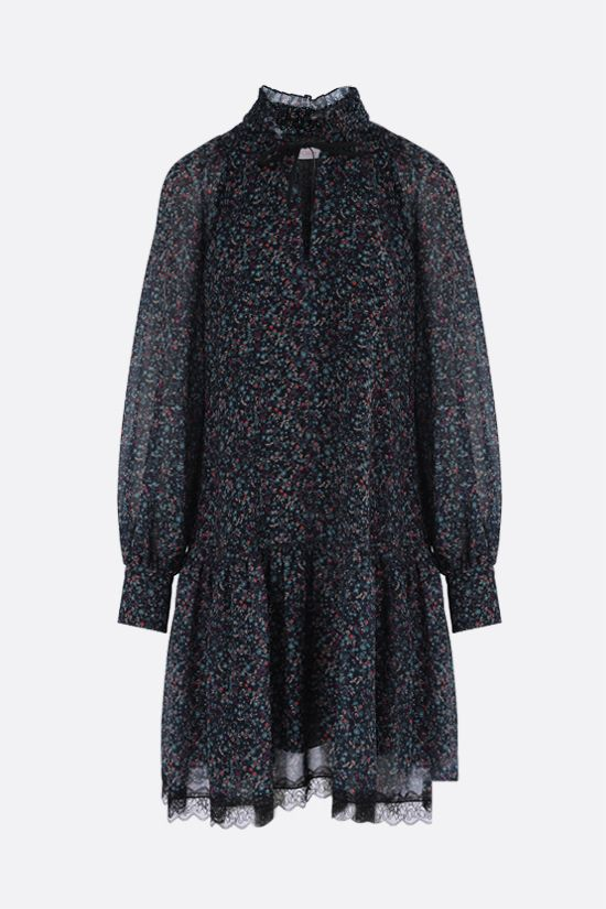 SEE BY CHLOÈ: Floral haze print georgette minidress Color Blue_1