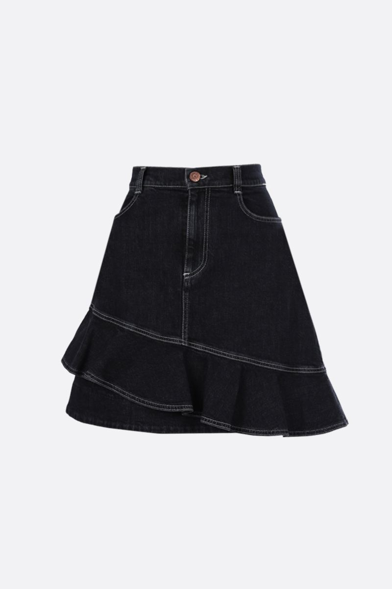 SEE BY CHLOÈ: denim asymmetric skirt Color Black_1