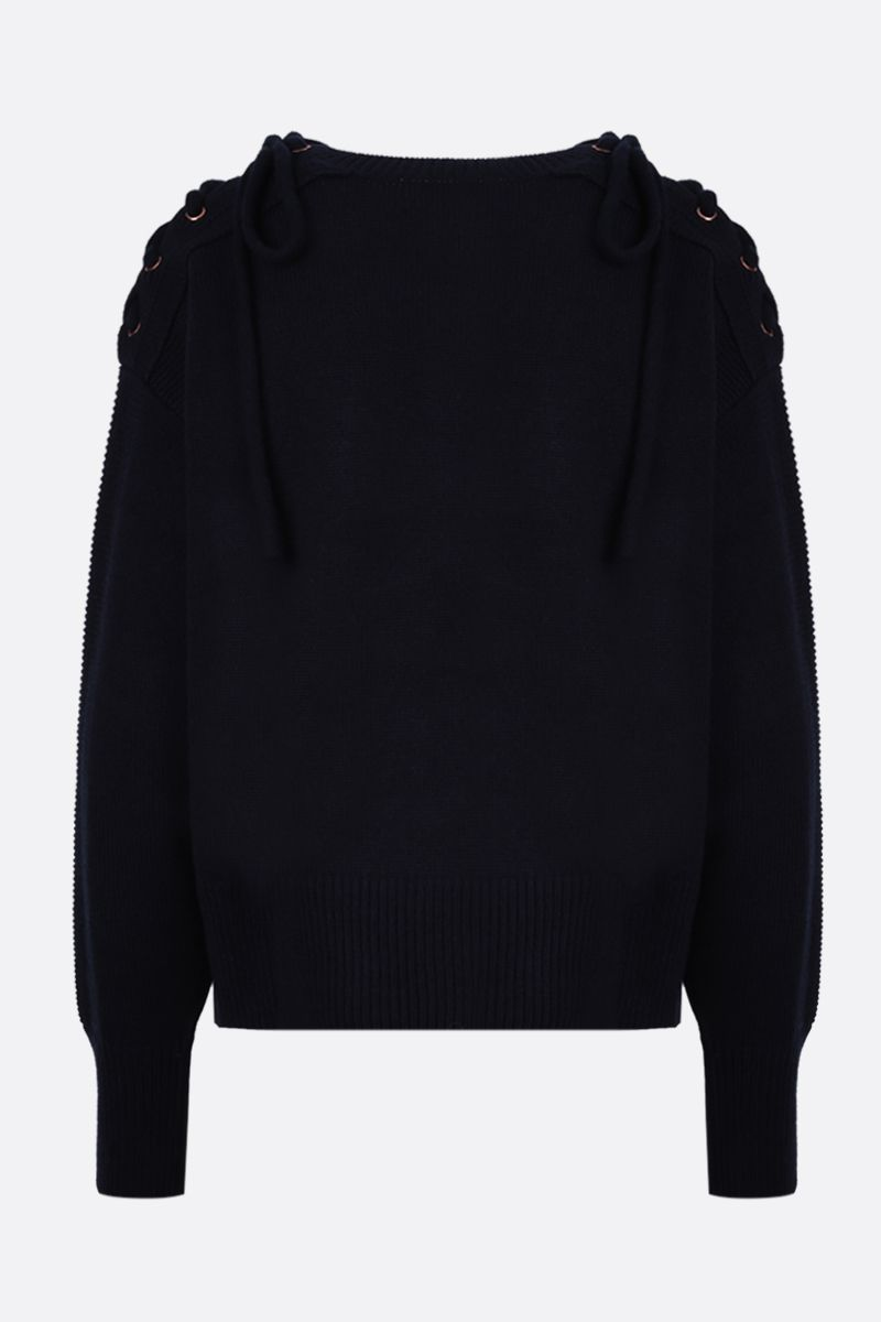 SEE BY CHLOÈ: laces-detailed knit pullover Color Blue_2