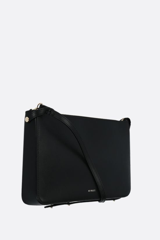 REE PROJECTS: Do smooth leather strap clutch Color Black_2