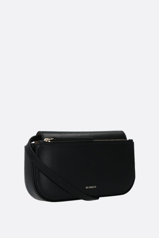 REE PROJECTS: Julie mini smooth leather crossbody bag Color Black_2