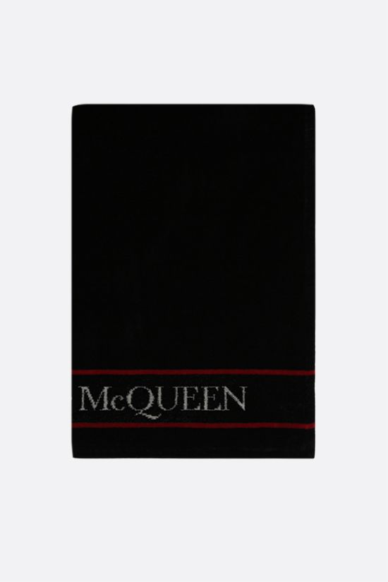 ALEXANDER McQUEEN: logo-detailed terry beach towel Color Black_1
