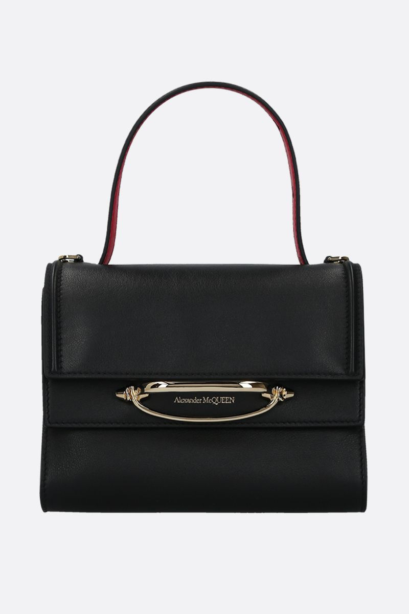 ALEXANDER McQUEEN: The Story crossbody bag in smooth leather Color Black_1