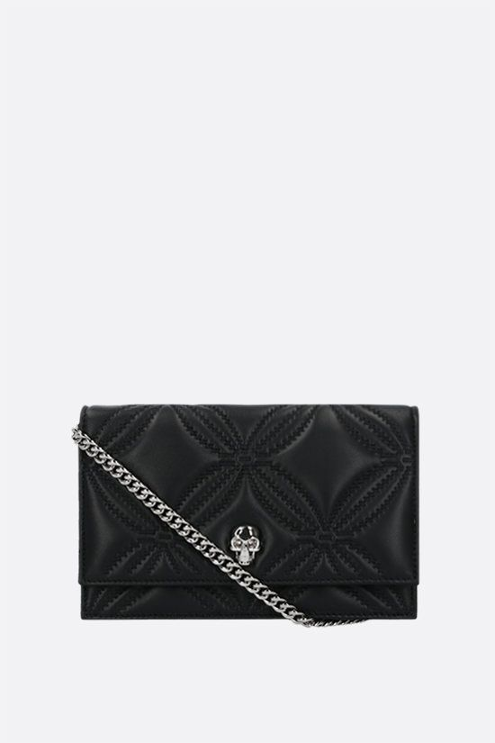 ALEXANDER McQUEEN: Skull mini quilted nappa crossbody bag Color Black_1