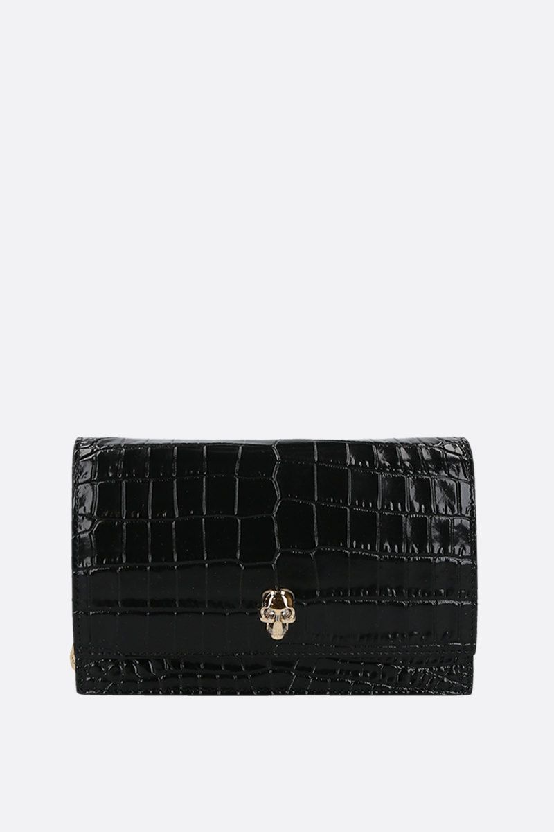 ALEXANDER McQUEEN: Skull mini crocodile embossed leather crossbody bag Color Black_1