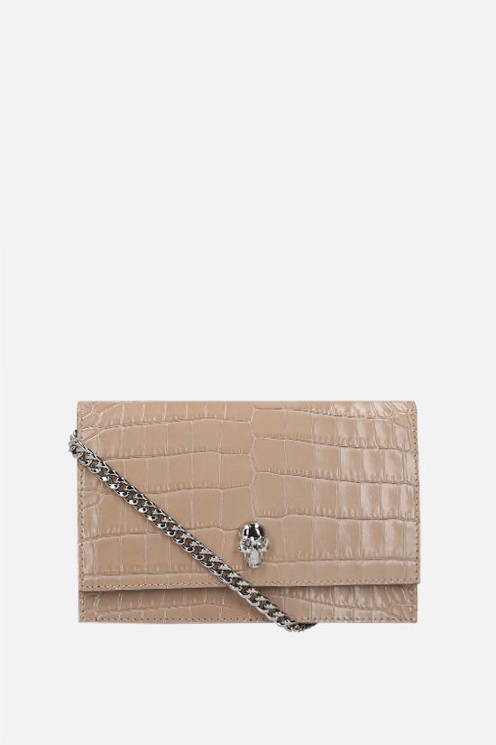 ALEXANDER McQUEEN: Skull mini crocodile embossed leather crossbody bag Color Pink_1